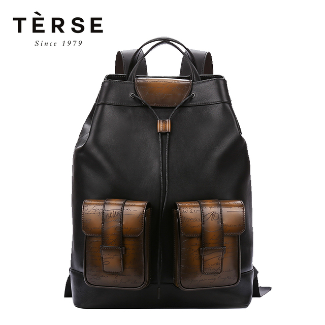 TERSE Men s Backpacks Handmade Cow leather Patch Work Back Packs Vintage  Preppy Style Large Capacity Bag For Male LN9703-1 dbe00fba3e6f