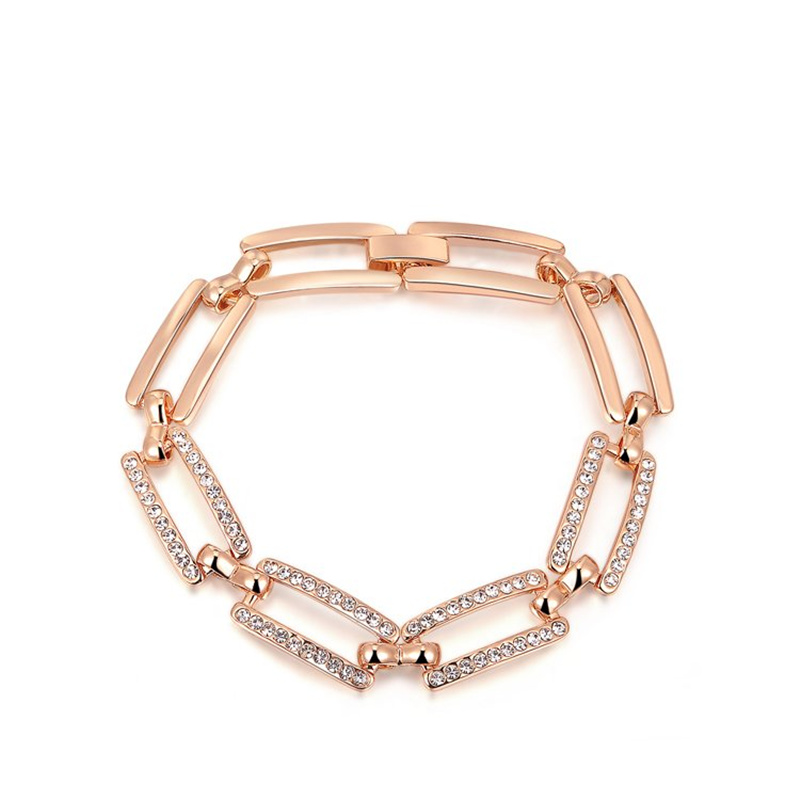 BOAKO Fashion Rose Gold / Silver Color Jewlery Round Cut Austrian Crystal Square Bracelet For Women Gift pulseras mujer X7-M2