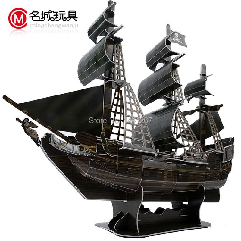 captain jack sparrow ship model - Jack Sparrow Captain 3D puzzle paper ship model Pirates of the Caribbean Black Pearl Model ancient Sailing sailboat warships