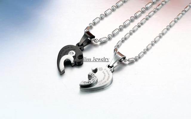 Online shop 1 pair blacksivler 316l stainless steel two half heart 1 pair blacksivler 316l stainless steel two half heart necklaces for couples lover heart pendant set christmas gift aloadofball Choice Image