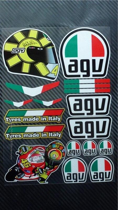 1set moto gp Valentino Rossi 46 Stickers Italy flag decals motorcycle racing team adesivo ...