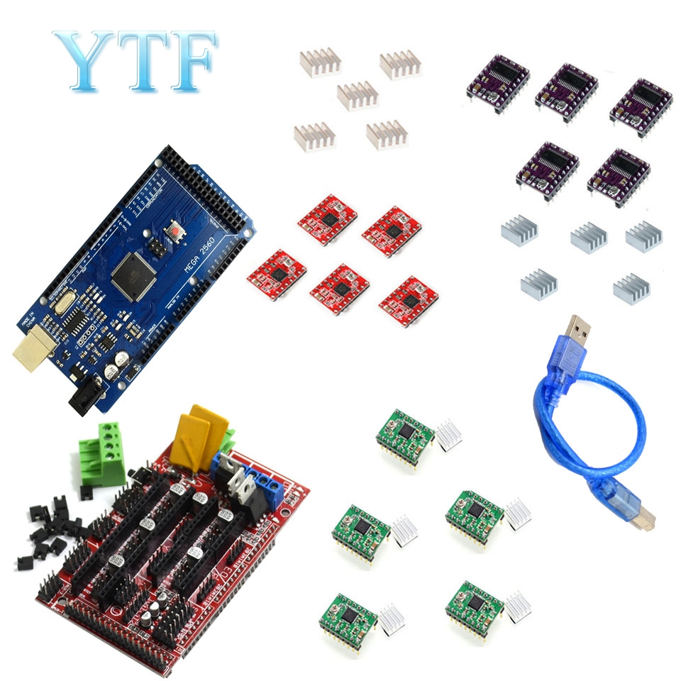 Mega 2560 R3 1pc RAMPS 1.4 Control Panel 5pcs DRV8825 Or A4988 Stepper Motor Drive 3D Printer Parts