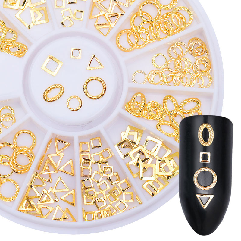 Gold Rivet Nail Studs Rhinestones Oval Circle Square Triangle Hollow Frame Mixed DIY 3D Manicure Nail Art Decoration in Wheel 1 box square rivet nail studs rhinestones 3mm flat bottom gold silver black decoration in wheel manicure 3d nail art decoration
