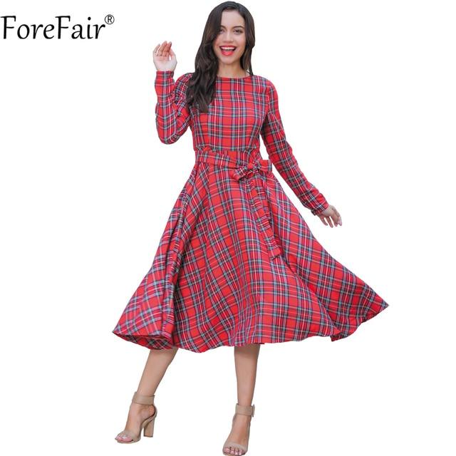 c6131d5aa Anteparo Inverno do Outono do Algodão Preto Vermelho Vestido Xadrez  Mulheres Plus Size Manga Longa Cinto