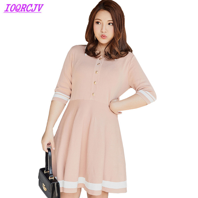 Constructive Knit Dress For Women 2018 Spring And Summer Plus Size Sweater Dress Fashion Stripes Large Swing Dress Female Dress Ioqrcjv H357 Women's Clothing