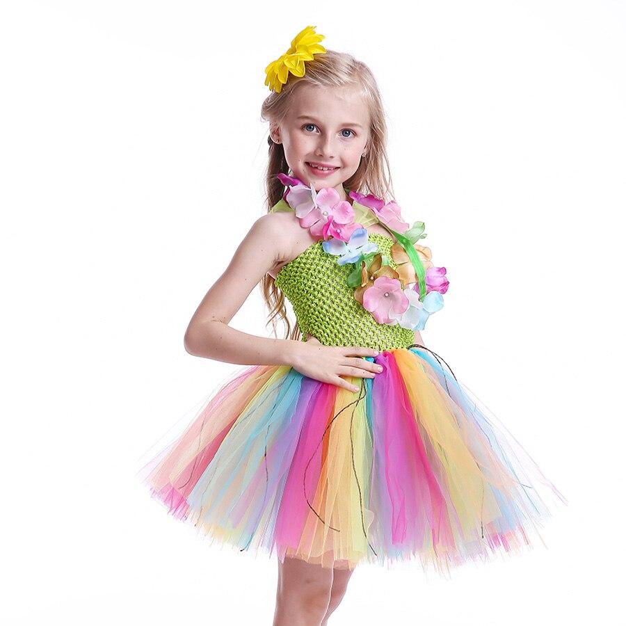 Girls Hawaiian Grass Hula Tutu Dress with Flower Garland Necklace Kids (5)