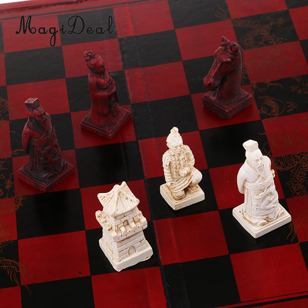 MagiDeal 1Set Middle Finest Chinese Chess Wooden Folding Chessboard Puzzle Game for Party Friend Family Toy Gift