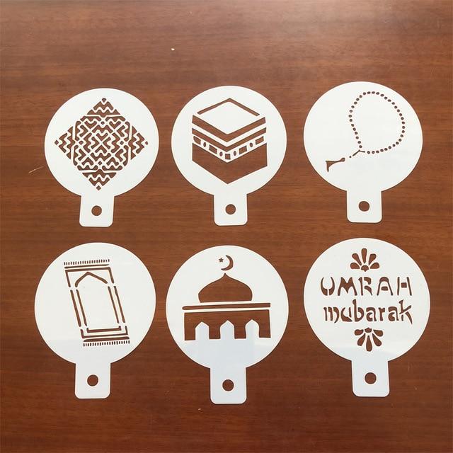 6Pcs Gefeiert Die Eid Festival Arabisch Ramadan Thema Kaffee Kunst Schablonen Ramadan Muslim Eid Festival Kuchen Dekorieren Werkzeuge