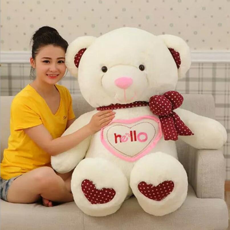 где купить 90cm Hello Teddy Bear Kawaii Plush Toys Peluches Stuffed Animal  Girls Toys Birthday Present Christmas Gift по лучшей цене