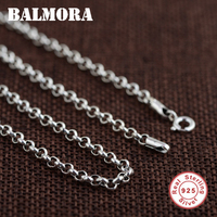 BALMORA 100 Real 925 Sterling Silver Jewelry Chains Necklaces For Men Sterling Silver Necklace Accessories 18