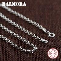 BALMORA 100% Настоящее серебро 925 пробы ювелирные изделия цепи ожерелье s для мужчин серебро ожерелье аксессуары 18-32 дюймов 0013