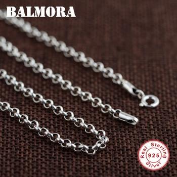 60bdb3f03538 BALMORA 100% Real 925 joyería de plata cadenas collares para hombres collar  accesorios 18-32 pulgadas 0013