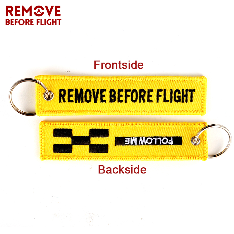 Remove Before Flight Key Chain FOLLOW ME OEM Keychain Jewelry Embroidery Safety Tag Aviation Gifts llavero Fashion Sleutelhanger 1