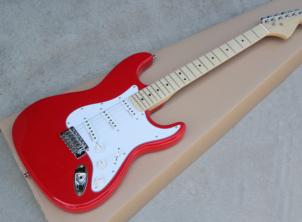 buy special price red electric guitar with white pickguard sss pickups maple. Black Bedroom Furniture Sets. Home Design Ideas