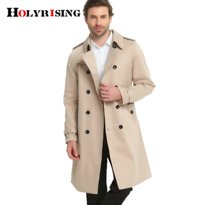 Image 2 - S 6XL Trench Coat Men British Style Spring Autumn Pea Coats Double Breasted Slim Solid Mens Wind Coat Windbreaker 4 color