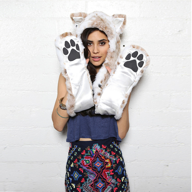 European and American fashion gloves, hats scarves Leather grass one animal cap hat leopard plush cartoon hat