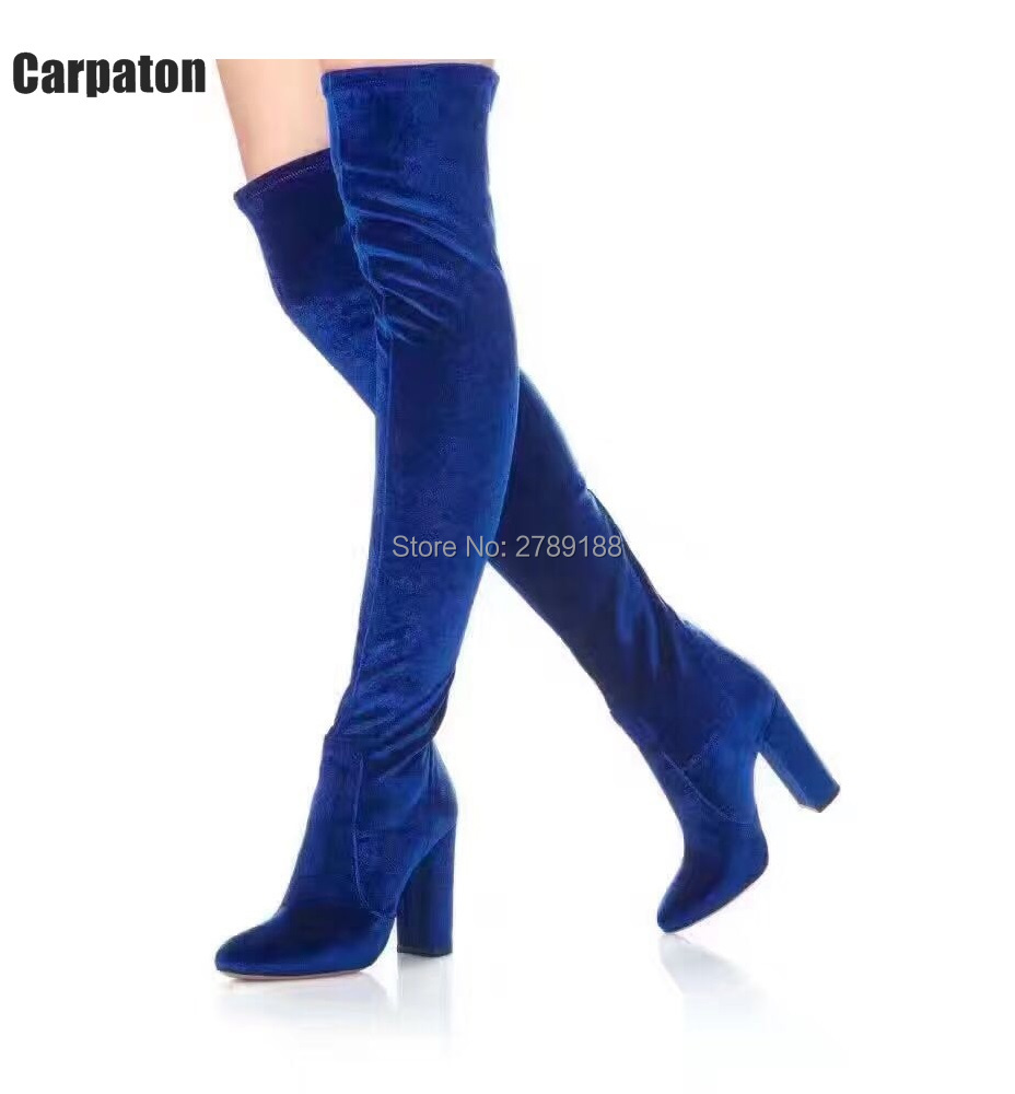blue grey black Burgundy Over the knee velvet Block heel boots 10cm chunky heel thigh high boots for autumn winter long boots individual red cup heel over the knee boots chunky heel stretch long booties winter thigh high boots