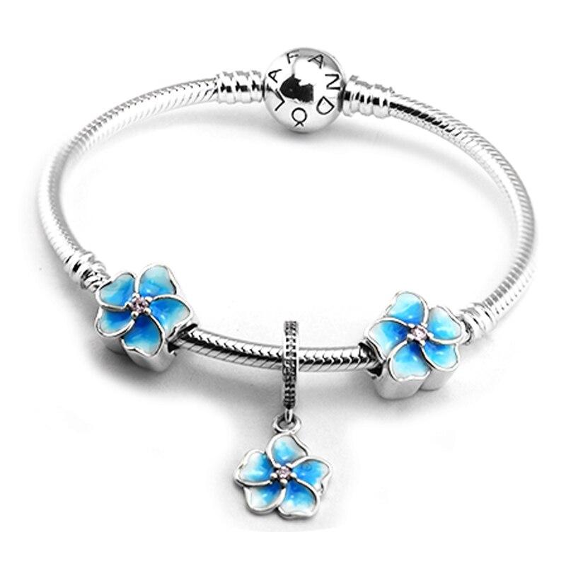 CKK 100% 925 Sterling Silver Blue Enamel Beads Drange Charm Fandola Bracelet Jewelry Set for Women Girl Gift Fine Jewelry ckk 100