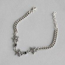 Korean Style S925 silver bracelet retro star chain zircon Bangle female ornaments