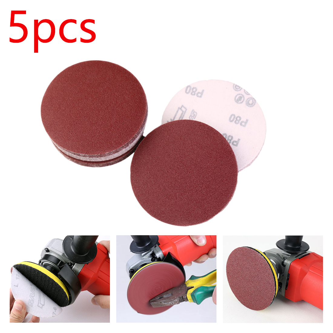 Polishing Discs 5pcs 125mm Red Circular With Grits 80#-1000# Felt Wheel Polishing Sharpening Sand Paper Tool Accessories