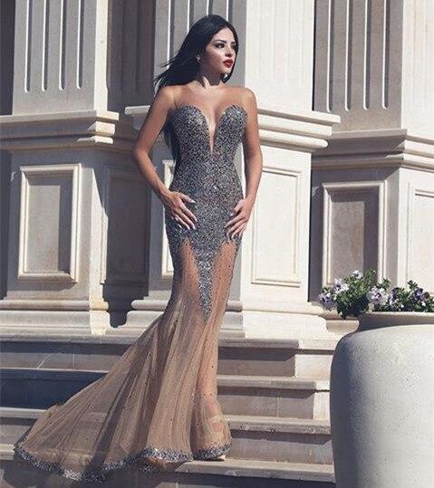 Robe de soiree Sexy   Prom     Dresses   2015 Sweetheart Neck Off Shoulder Mermaid Floor Length Beading Tulle Evening   Dress   2016