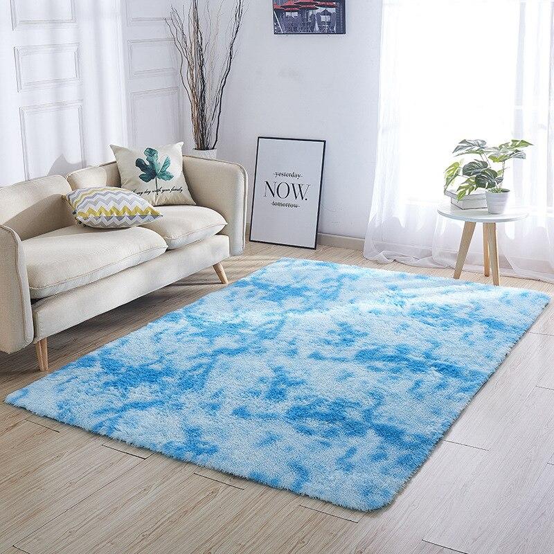 Épaissi lavé soie cheveux tapis antidérapant salon table basse couverture chambre chevet tapis yoga tapis solide couleur peluche - 4