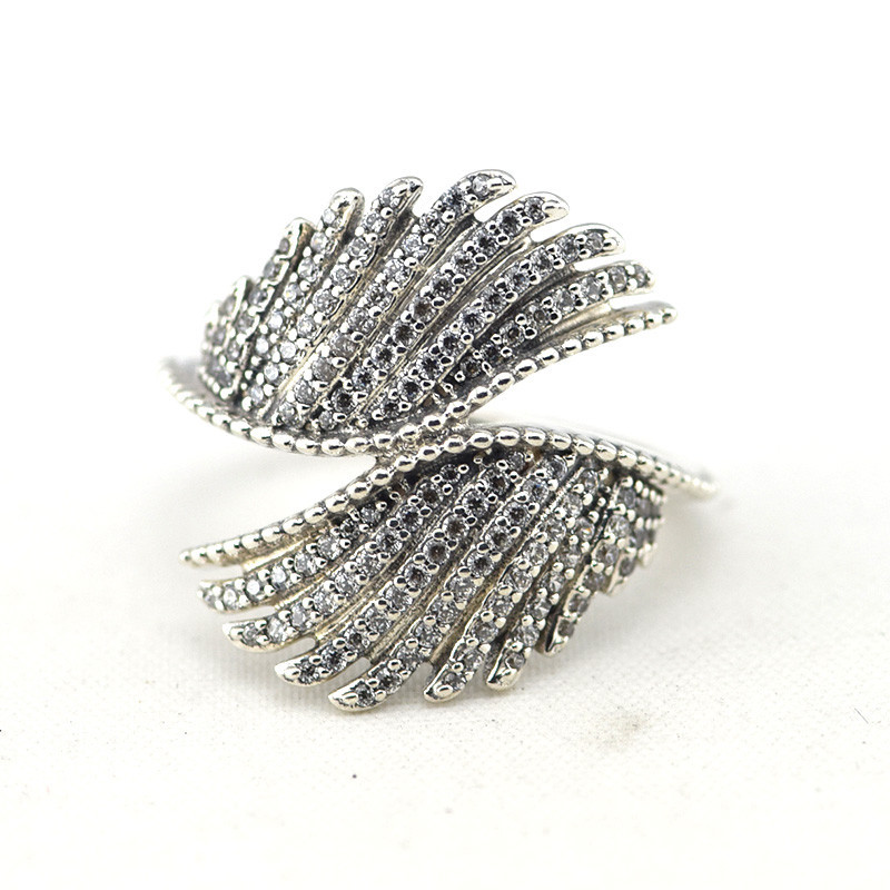 Fine Majestic Feathers Silver Rings for Women Clear CZ 925 Sterling Silver Rings Jewelry Crystal Angel Wings Charm Women RingsFine Majestic Feathers Silver Rings for Women Clear CZ 925 Sterling Silver Rings Jewelry Crystal Angel Wings Charm Women Rings