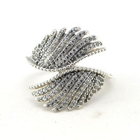 Fine Majestic Feathers Silver Rings for Women Clear CZ 925 Sterling Silver Rings Jewelry Crystal Angel Wings Charm Women Rings