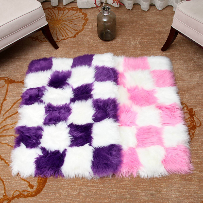 Home Soft Faux Sheepskin Fur Area Rugs Bedroom Shaggy Silky Plush Carpet White Faux Fur Rugs Artificial Wool Warm Hairy Carpets