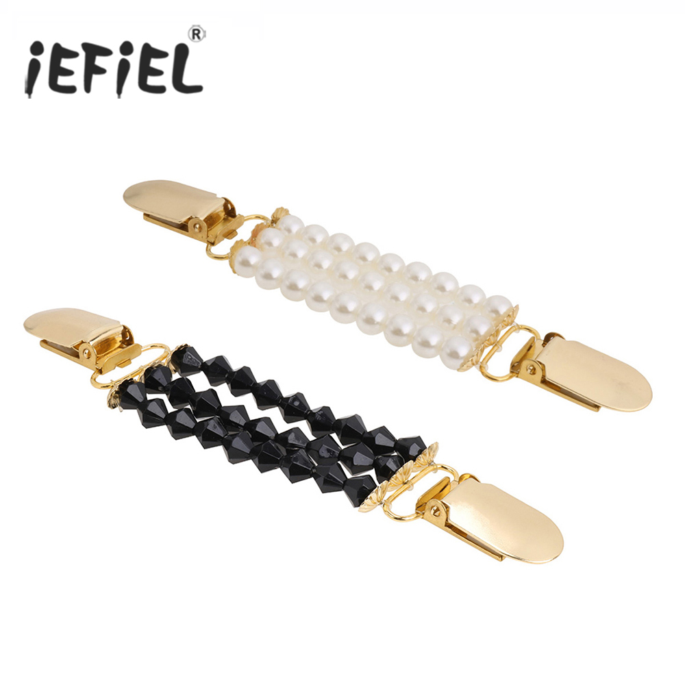 iEFiEL Women Beaded Sweater Shawl Clips Cardigan Collar Duck-mouth Plated Metal Clip Holder Garters Harness Belt Accessories