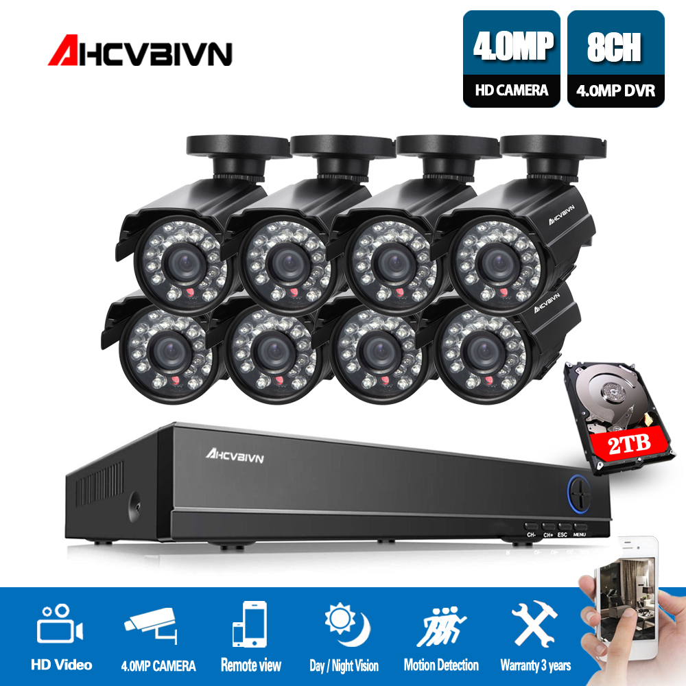 8CH DVR CCTV 4MP Video Recorder 8PCS 2560*1440P Home Security Waterproof Night Vision security Camera system Surveillance Kits