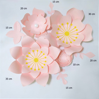 Handmade Baby Pink Rose DIY Paper Flowers Leaves Set For Party Wedding Backdrops Nursery Wall Deco Girls Room Video Tutorials