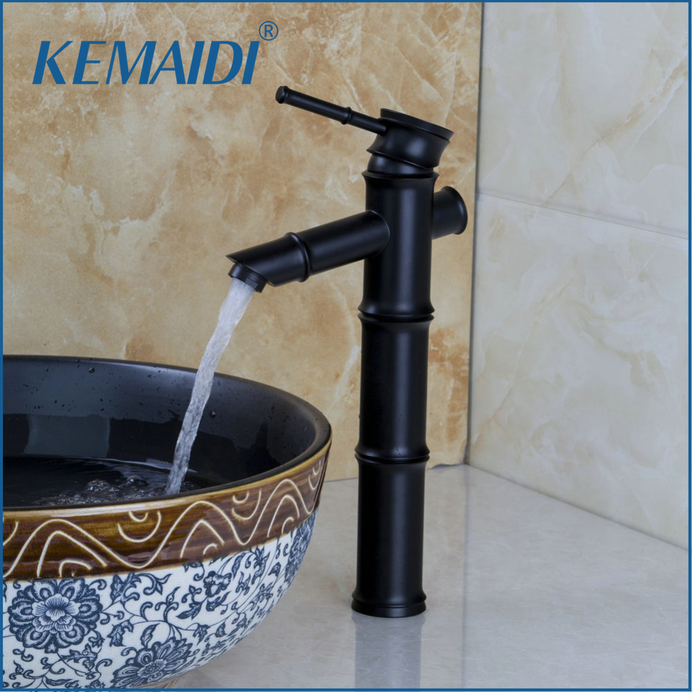 KEMAIDI Bathroom Basin Sink Black Oil Rubber Bronze Vessel Vanity Torneira Mixer Tap Faucet Deck Mounted Bamboo Shape Waterfall new designed antique brass bamboo arts bathroom basin sink drain pop up waste vanity with overflow