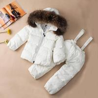 Winter Children Turtleneck Down Coats Kids Snow Wear Baby Outwear Natural Raccoon Dog Fur Collar Parka Jacket For Boy Girl Y1101