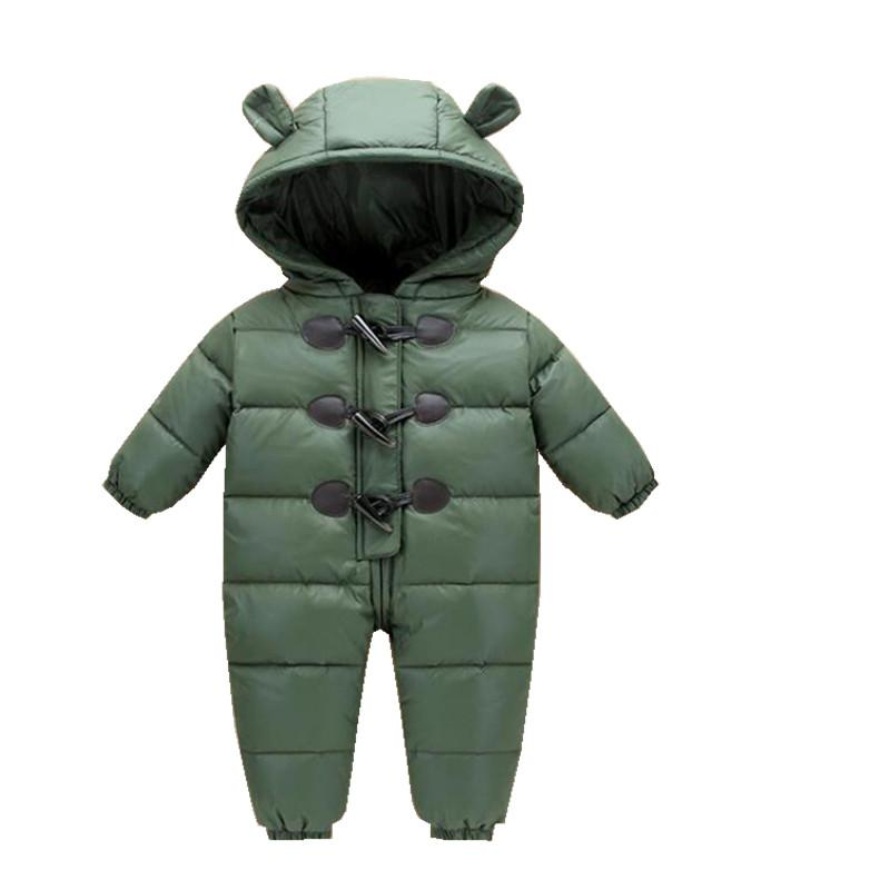winter 2017 baby jumpsuits duck down baby clothing 6M -24M baby girl clothes for boy coats parka snowsuits thicken jackets