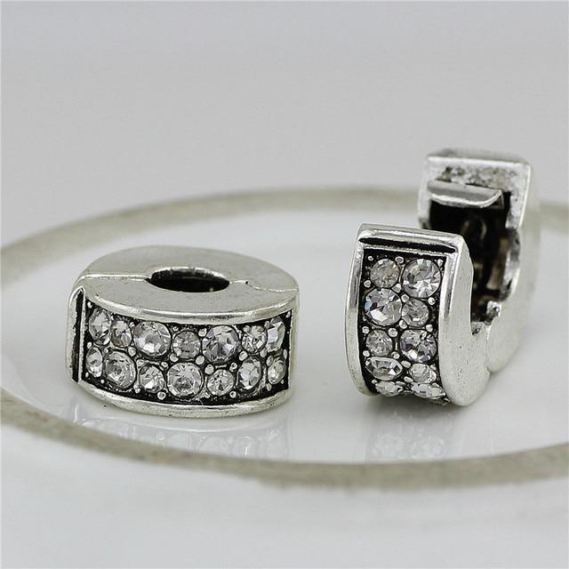 Copper Stopper crystal Clip Lock Round DIY European Spacer Metal Bead Fit For pandora Bracelet&bangle DIY jEWLERY