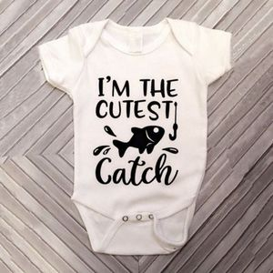 2018 Newborn Kid Baby Girl Baby Boy Clothes Fish Romper Cotton Short Sleeve Letter Jumpsuit Outfits Sunsuit Clothes Cute 0-18M(China)