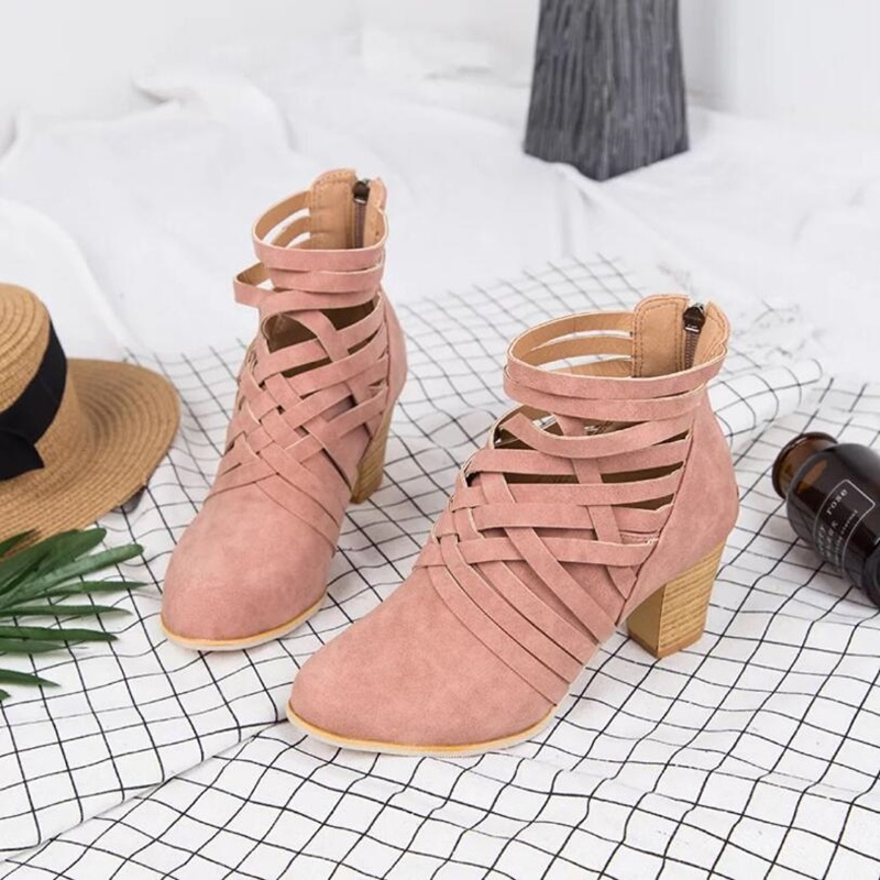 2018 autumn boots women suede sexy shallow boots top quality med heels ankle boots camel color casual shoes narrow band deco 3