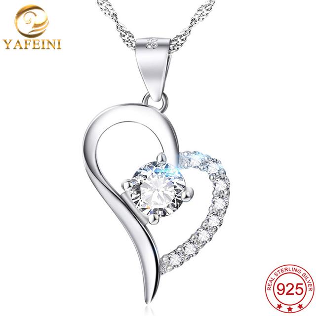 Yafeini atacado 925 sterling silver cristal amor coração pingente colar moda jóias collares mujer gnx0431