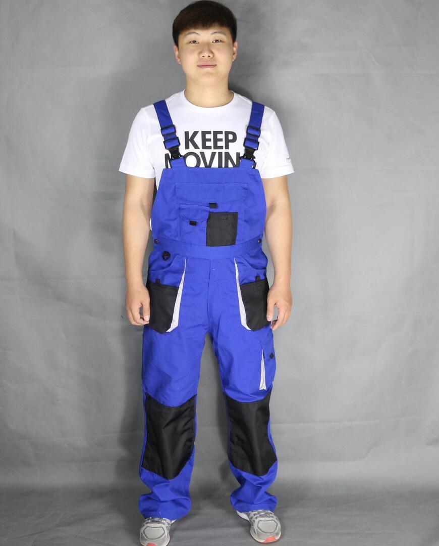 2016 Men Three-dimensional pocket one piece summer suspenders work pants wear-resistant oil work wear jumpsuit Bib pants costume