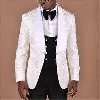 На заказ белый цвет слоновой кости жаккард Мужской Блейзер черный жилет и брюки Slim Fit Свадебные костюмы для мужчин жениха костюм фрак Homme