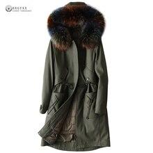 Women Winter Real Leather Coat Detachable Duck Down Liner Genuine Leather Jackets Raccoon Fur Collar Sheepskin Overcoat OK1298