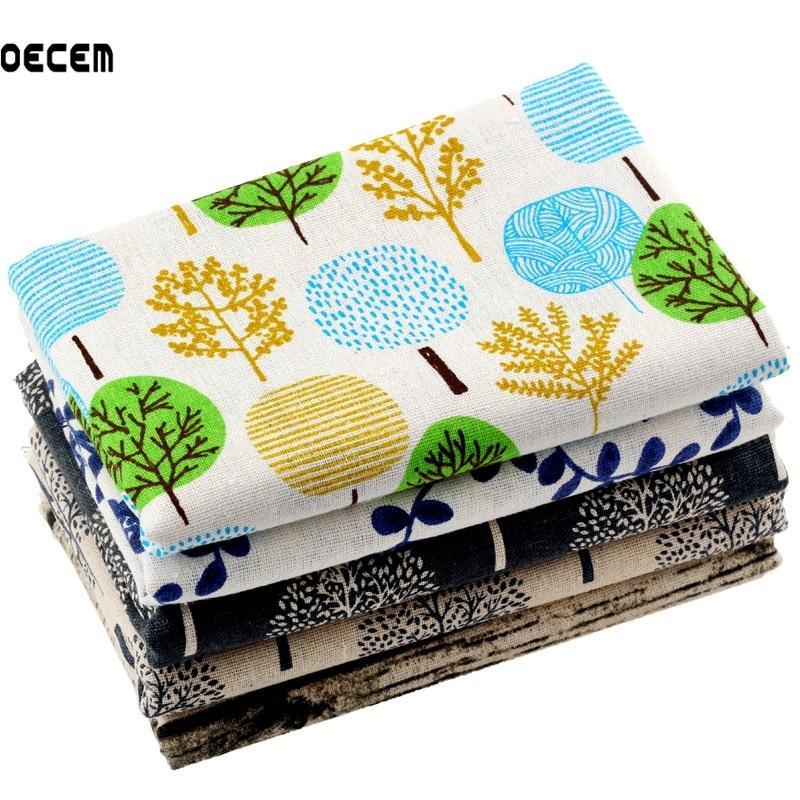 Árbol de impresión de lino tela liso grasa cuarto paquete patchwork - Artes, artesanía y costura