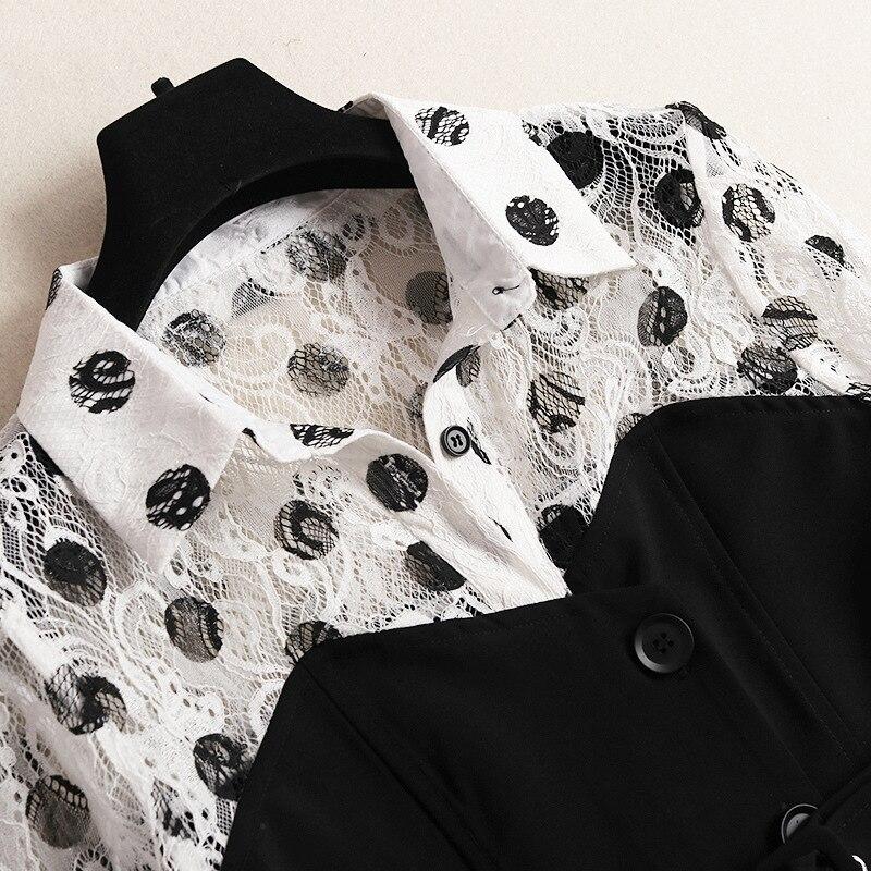 Designer 2019 Longue Patchwork mollet Dot Robes Mode 50150 Qualité Dentelle Mi Shuchan Robe Haute Street And Date White Femmes High Black t6Pawfq