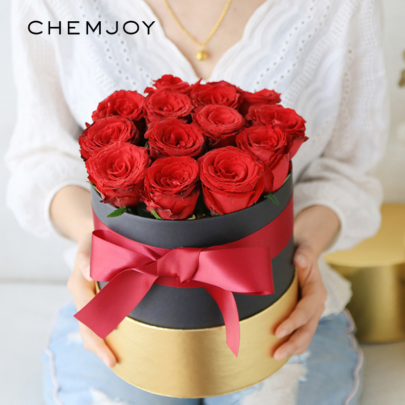 2pcs Round Flower Arrangement Boxes with Lid Flower Hug Bucket Florist Bouquet Rose Box Gift Packaging Box Wedding Decorations