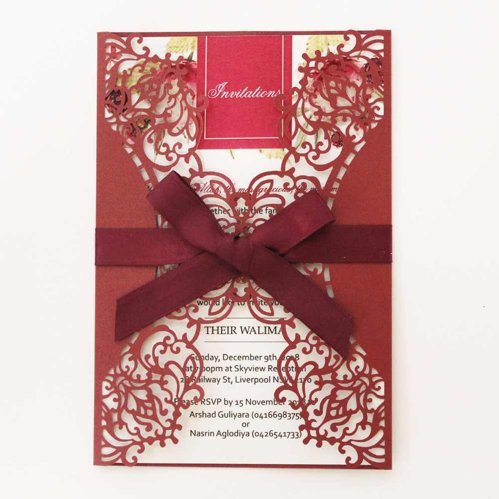 Wedding Invitations Burgundy Laser Cut Invitation