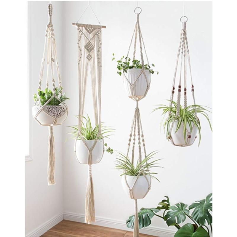 Macrame Flowerpot Hanging Basket Plant Hook Indoor and Outdoor Wall Weaving Hanging Home Decoration 4 Pcs Set Flowerpot Net Bag in Hanging Baskets from Home Garden