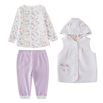Tender Babies Baby Girl Clothing 3pcs set quilted jacquard hooded gilet and legging with rib cuff and soft printed floral T-shir tender babies baby girl clothing 3pcs set quilted jacquard hooded gilet and legging with rib cuff and soft printed floral t shir