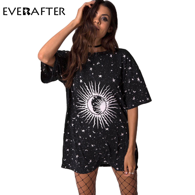 a347ca7b1ef EVERAFTER T Shirt Women Tops 2018 Summer Black Print Short Sleeve Plus Size  Round neck long shirt Casual Loose funny t shirts