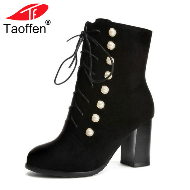 a62a1ce64b TAOFFEN Plus Size 34-48 Shoes Woman High Heel Boots Winter Snow Boots  Rheinstone Shoes Lace Up Short Boots Retro Winter Footwear